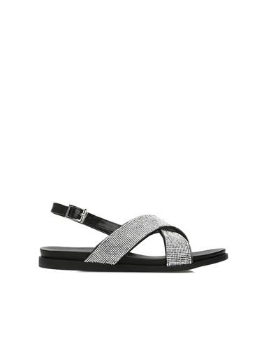 Divarese 5024030 Taşlı Kadın Sandalet Gümüş